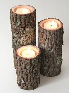 Tree Trunk Candles. One of my IG friends did this along their walkway. It looked amazing.