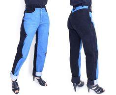 a2ce9ed1851 Sz 8   9 High Waisted Colorblock Mom Jeans - Vintage Women s Two Tone Black  and Blue USA Made Western Jeans - 28 Waist