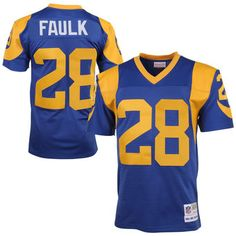 St Louis Rams #28 Marshall Faulk Mitchell Ness Royal Blue Yellow 1999 Retired…