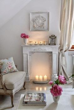 Victorian whites - fireplace with candles