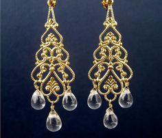 Gold Chandelier Clip On Earrings Clear Teardrops Bridal by Tissage