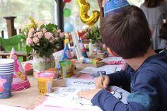 Peppa Pig kids activity table on Melina's birthday