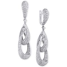 Pave Classica by Effy Diamond Teardrop Earrings (4-5/8 ct. t.w.) in... ($9,800) ❤ liked on Polyvore featuring jewelry, earrings, white gold, 14k earrings, evening earrings, diamond jewelry, tear drop earrings and white gold diamond earrings