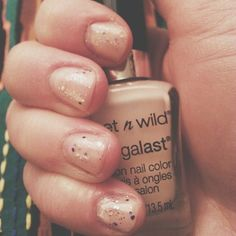 Base color is Wet n Wild's 2% Milk with Nicole by OPI's Inner Sparkle via @Courtney Mirenzi on Instagram