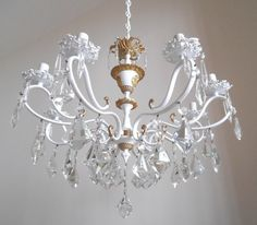 LUCI DEI RE 1950s, brass vintage chandelier, Italy, white, glass crystals, French apartment, crystal chandelier one-of-a-kind