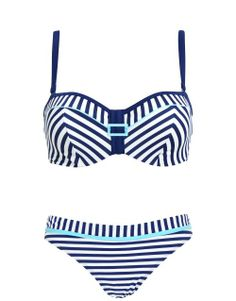 Cleo by Panache Lucille Underwired Padded Bandeau Set in Blue and White Stripes #SS14SWIM #NauticalButNice #figleaves