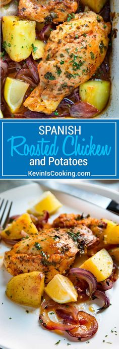 For this Spanish Chicken boneless thighs are simply seasoned with smoked paprika and lemon juice, slow roasted with red onions, garlic and potatoes and sherry. So good! via @keviniscooking