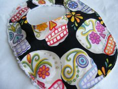 Day of the Dead Sugar Skull Baby Bib  fits up to by RockinMamaBG, $9.25