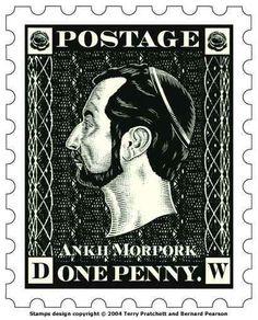 Terry Pratchett's Discworld series one penny stamp