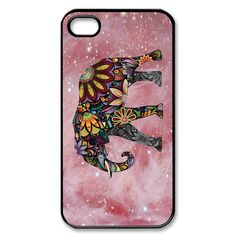 elephant art and pink galaxy iPhone case