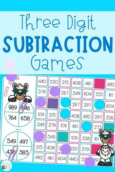 Place subtraction games with regrouping in your math center and make subtraction practice fun and engaging for your second and third grade students. These interactive math games get your kids to practice subtraction with multi-digit numbers and are perfect for homeschoolers too. #subtractionwithregrouping #subtractiongames