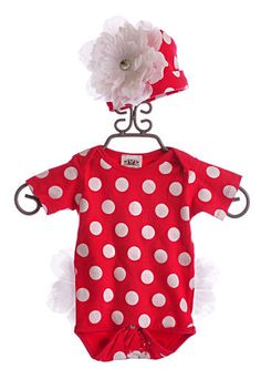 She Bloom Infant Girls Onesie and Hat Red Dots|She Bloom $58.00