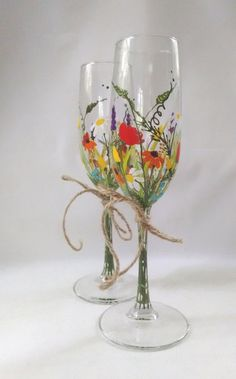 """Toasting Glasses """"Bouquet of wildflowers"""",Rustic wedding,Birthday Gift,Mothers gift,For her,Gift Idea -- Hand painted & Decorated Set of 2"""