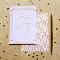 This personalised Art Deco Inspired Save The Date is perfect if you are planning a 1920's inspired affair. 1920s wedding stationery designed by Sincerely May Design. www.sincerelymay.co.uk