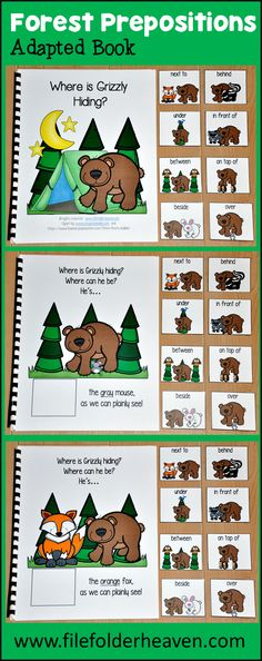 "This Adapted Book, ""Where is Grizzly Hiding?"" is a forest animals themed book that teaches prepositions or positional words and reinforces colors and color words. Students follow a silly bear as he hides among different colored forest animals. This book also works great during a camping unit, because it focuses on animals that students might see while camping."