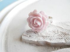 Lucite Rose Ring  Pale Pink by linkeldesigns on Etsy, $5.00