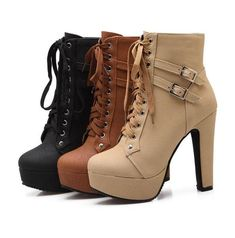 High Heels lace up Ankle Boots Platform Shoes