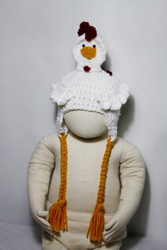 chicken crochet hat for newborn to 3 months