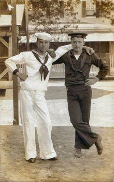 "sailorgil:  ""Two Sailor Buddies"" ….. Vintage Photograph [Circa 1910]"