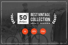 50 Retro Badges by vuuuds on Creative Market