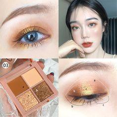 Korean Makeup Tips, Korean Makeup Look, Korean Makeup Tutorials, Asian Eye Makeup, Gyaru Makeup, Kawaii Makeup, Gold Eye Makeup, Skin Makeup, Waterproof Eyeshadow