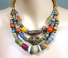 3 strand African necklace, trade beads, lost wax brass beads, bone, stone, clay, wood, coral, Ghana recycled glass beads, fancy Krobo beads