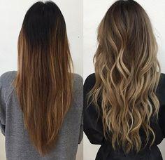 Beautiful dark brunette to ash blonde ombré.  Must pre lighten to insure no coppery tones come trough.                                                                                                                                                                                 Más