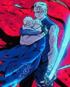* Devil May Cry *. Anime Demon, Manga Anime, Anime Art, Game Character, Character Design, Nero Dmc, Vergil Dmc, Gang Road, Dante Devil May Cry