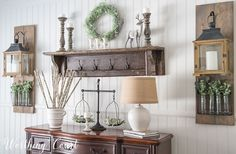 Winter sideboard decorations in a farmhouse dining room || Worthing Court