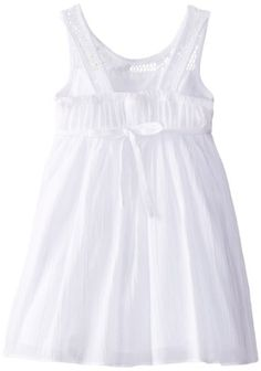 Youngland Little Girls' Empire Waist Dress with Rosette, White, 2T - Click image twice for more info - See a larger selection of girls white dress at http://girlsdressgallery.com/product-category/girls-white-dress/ -girls,toddle ,juniors,white clothes,girls clothing,kids fashion,girls fashion, gift ideas, holidays