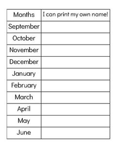 Watch the progression by month of your Y1 kinder students or emergent writers, as they use this resource to record their name each month.