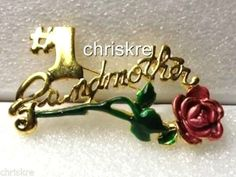 Mothers Day Gold Pin Brooch #1 Grandmother Grandma Dusty Rose Gift USA Seller