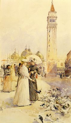 Feeding Pigeons in the Piazza, Frederick Childe Hassam. American Impressionist Painter (1859-1935)