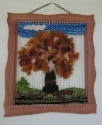 telares con vellon - Buscar con Google Textiles, Diy And Crafts, Weaving, Tapestry, Wall Art, Pasta Piedra, Frame, Gabriel, Loom
