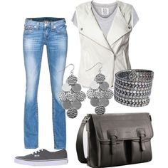Casual day wear Distressed denim and tee with white leather vest