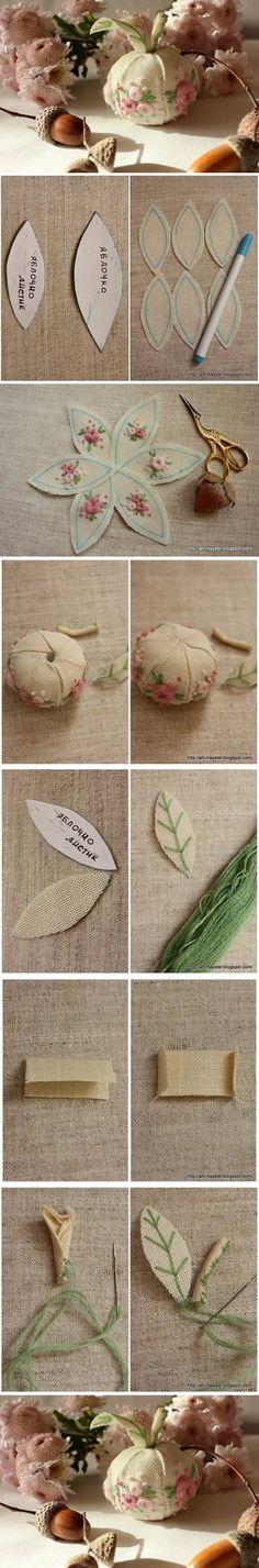 DIY Fabric Apple Pin Cushion Embroidery Cross Stitching