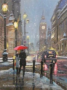 PETE RUMNEY FINE ART BUY ORIGINAL OIL ACRYLIC PAINTING A NIGHT IN LONDON WINTER in Art, Artists (Self-Representing), Paintings | eBay