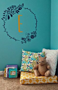 Floral frame with monogram letter initial in girls nursery - Wallternatives vinyl wall decals - decorated by Ameroonie Designs