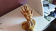 Wooden sculptureHand sculpture Heart Butterfly Wood