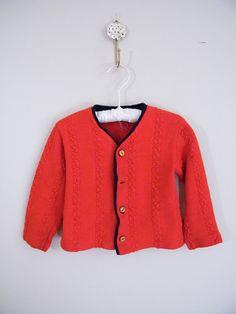 Vintage 1960s Child's Red Sweater / Cardigan by ThriftyVintageKitten, $10.00