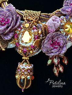 Unusual jewelry from beads and Swarovski crystals by PutilinaJewelry Jewelry Crafts, Jewelry Art, Beaded Jewelry, Jewelry Design, Beaded Necklace, Bead Embroidery Jewelry, Beaded Embroidery, Handmade Necklaces, Handmade Jewelry