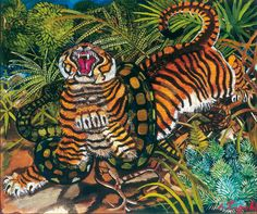 "Gorgeous piece by Italian artist Antonio Ligabue ""Tigre assalita dal serpente."" Wild and childlike and expertly inexpert. Love his colours and energy. New Music Releases, Henri Rousseau, Tiger Art, Creature Drawings, Wildlife Paintings, Art Database, Italian Artist, Naive Art, Recycled Art"