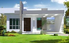 65 Ground Floor Facades - Models and Photos Small Modern House Exterior, Modern House Facades, Small Modern Home, Modern House Plans, Modern House Design, Style At Home, One Storey House, Home Building Design, Entrance Design