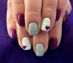 Purple, White, and Grey Glitter with Strips and Heart Nail Art Design