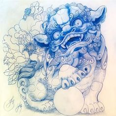 foo dog outline - Google Search