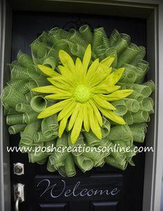 Spring Mesh Wreath Mesh Wreath Spring Green by poshcreationsKY, $75.00