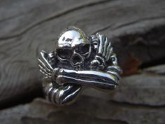 Skull ring in sterling silver by Billyrebs on Etsy, $89.00