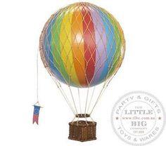 Vintage Hot Air Balloon Rainbow colours