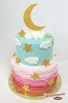 Moon & Stars with Pink Ruffles | The Ambrosia Bakery Cake Designs- Baton Rouge, La |