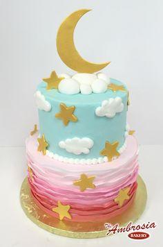 Moon & Stars with Pink Ruffles | The Ambrosia Bakery Cake Designs- Baton Rouge, La |